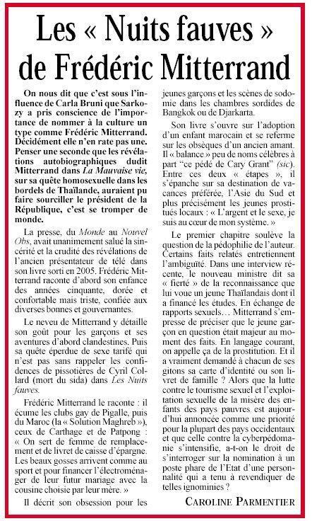 Les « Nuits fauves » de Frédéric Mitterrand, Présent du 26 juin 2009