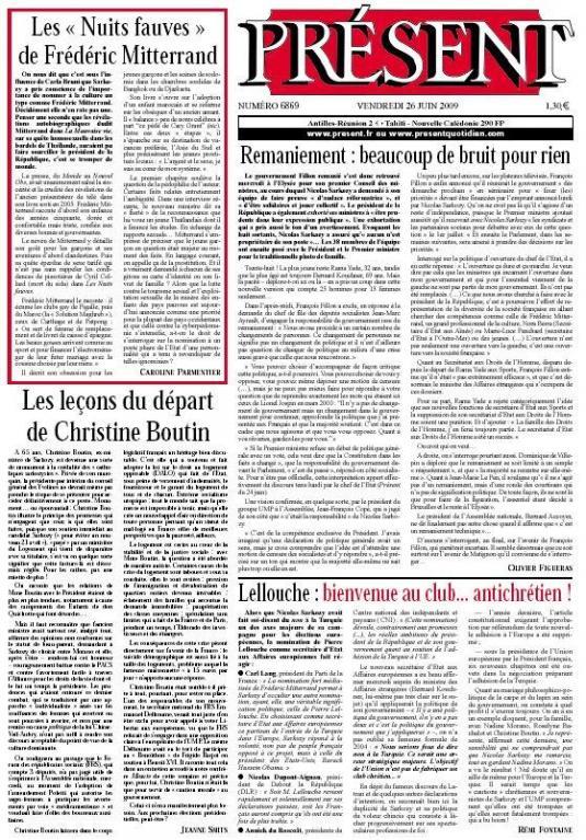 Les « Nuits fauves » de Frédéric Mitterrand, Présent du 26 juin 2009 (2)